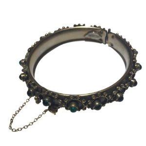 Vintage sandour green stone bangle Bracelet